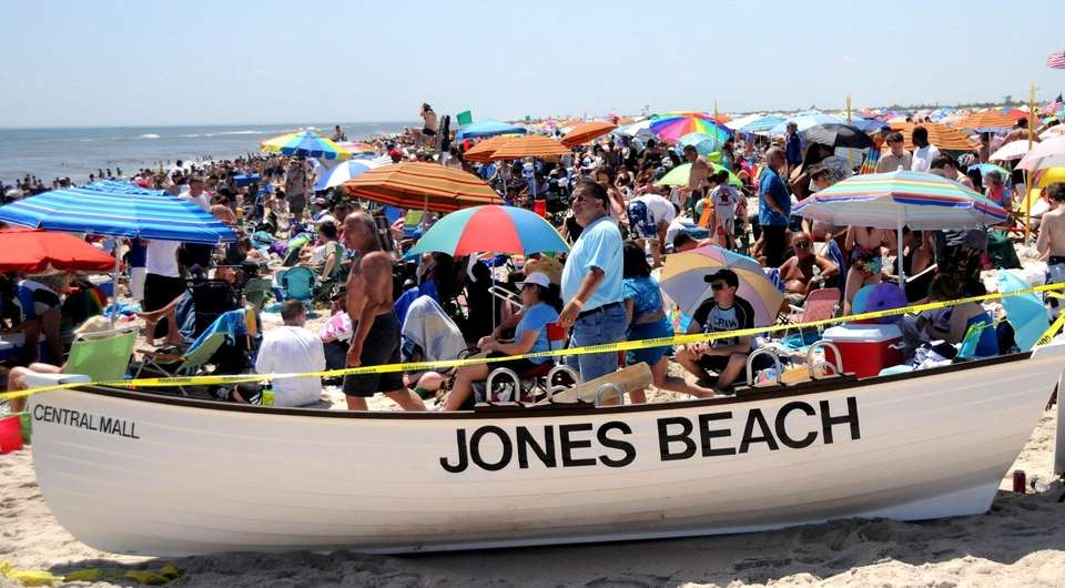 Huge crowds flocked to Jones Beach for the