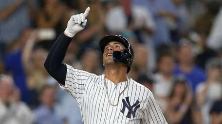 Gleyber Torres of the Yankees celebrates his eighth