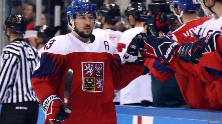 Jan Kovar #43 of the Czech Republic celebrates