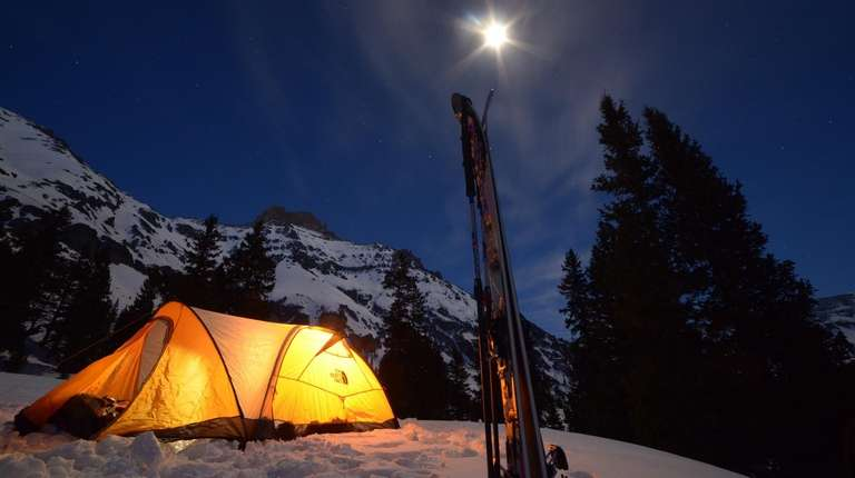 A camp for an extreme skiing expedition in