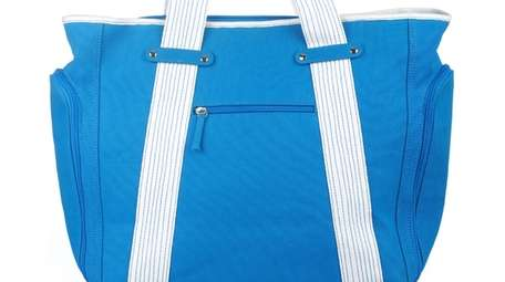 This brilliant blue, water repellent canvas bag is