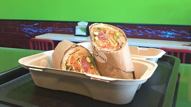 A sushi burrito at Iron Poke in Stony