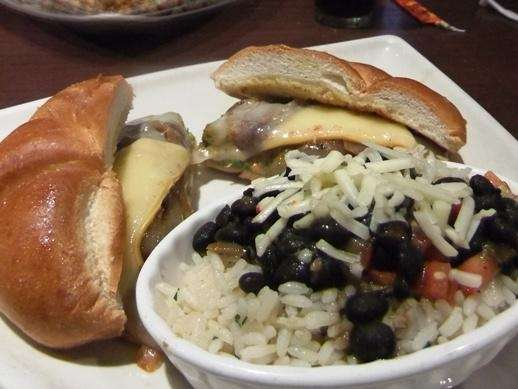 Vegetarian burger with rice and beans at Houlihan's