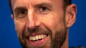 England manager Gareth Southgate talks to media on