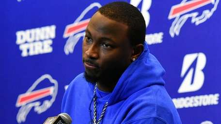 Bills running back LeSean McCoy speaks with the