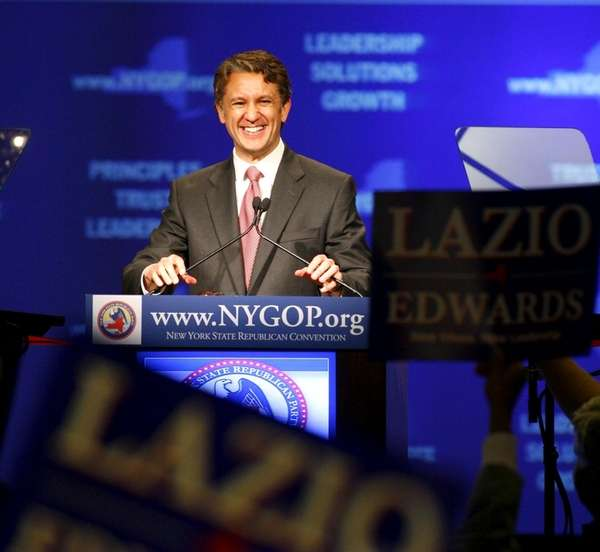 Rick Lazio smiles after he was nominated the