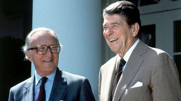 NATO Secretary-General Lord Carrington, left, and President Ronald