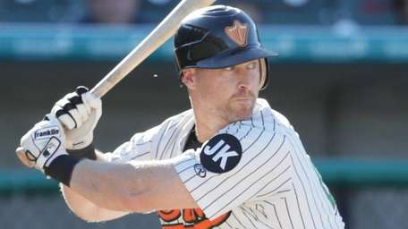 The Ducks' Lew Ford bats against the Skeeters