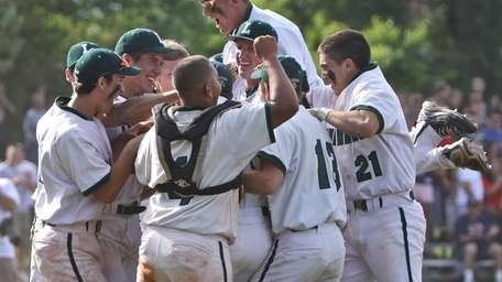 Lindenhurst players celebrates their 5-4 victory over Longwood.
