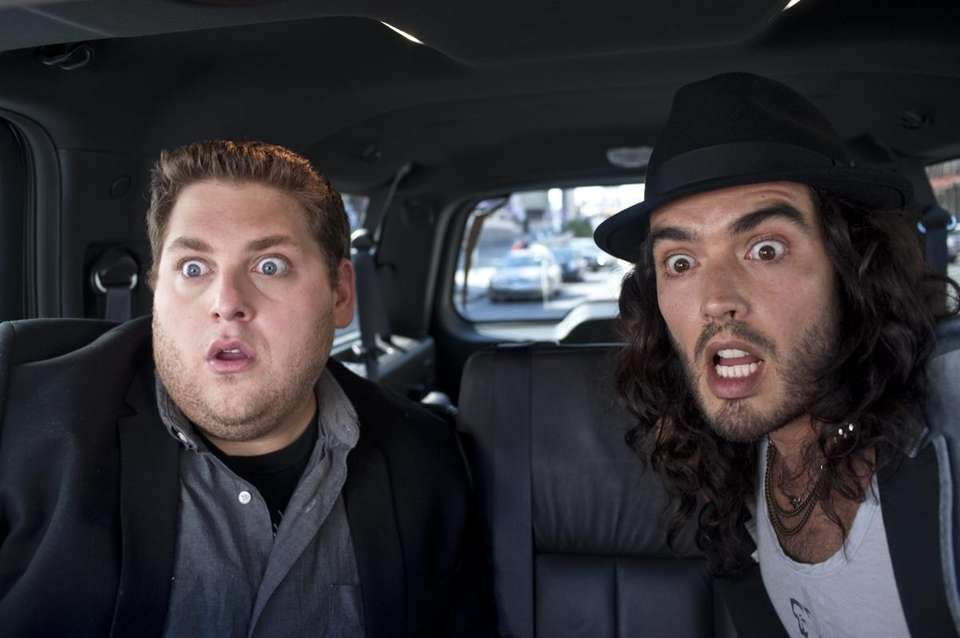 Jonah Hill, left, and Russell Brand in a