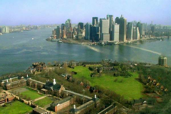 Aerial view of Governors Island in New York