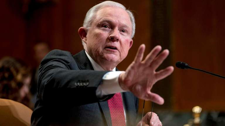 Attorney General Jeff Sessions speaks on Capitol Hill