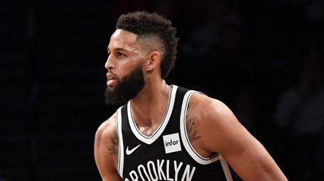 Brooklyn Nets guard Allen Crabbe reacts after he