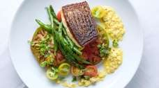 Grilled local striped bass with flat beans, heirloom