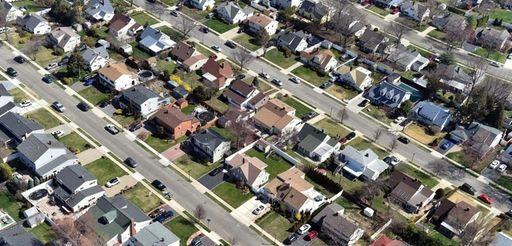 An aerial view of a Nassau County neighborhood