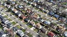 An aerial view of a Nassau County neighborhood