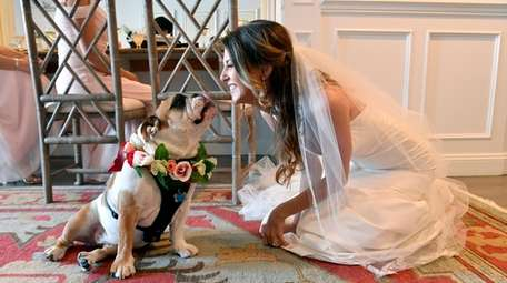 Bride Allison Zakre and Matilda share a moment