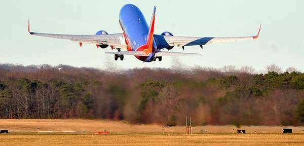 A Southwest Airline 737 plane taking off in