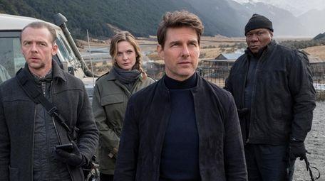 Simon Pegg, left, Rebecca Ferguson, Tom Cruise and