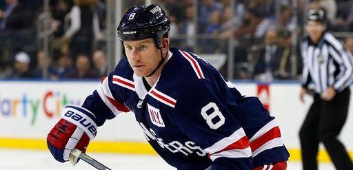 Cody McLeod of the Rangers skates against the