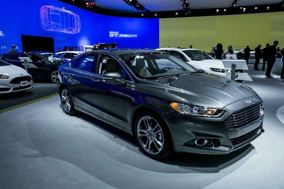 The 2015 Ford Fusion Titanium on display during