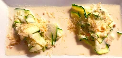 Zucchini noodles in a cream sauce at North