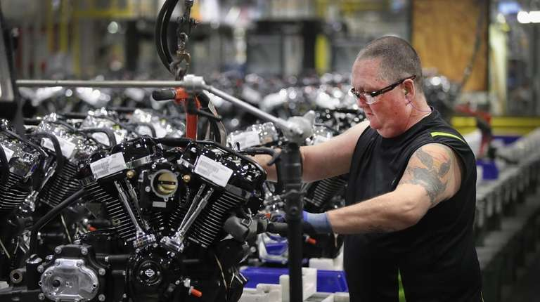 Harley-Davidson motorcycle engines are assembled at the company's