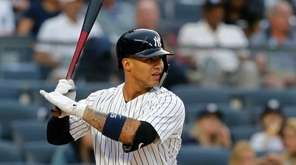 Gleyber Torres of the Yankees bats during the