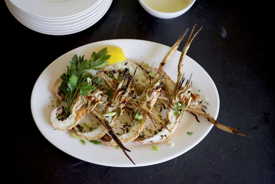 Grilled langoustines at Kyma in Roslyn.
