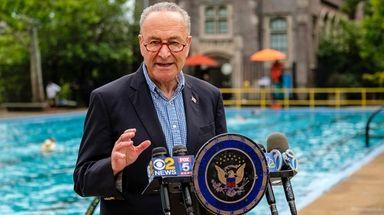 Senate Minority Leader Chuck Schumer speaks Sunday at