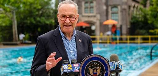 Senate Minority Leader Chuck Schumer speaks Sunday at