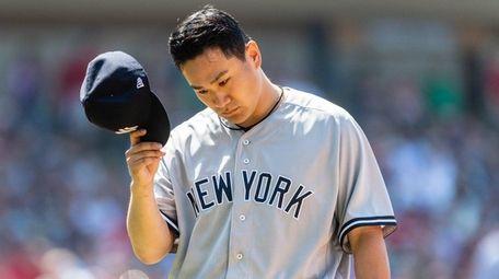 Starting pitcher Masahiro Tanaka of the Yankees leaves