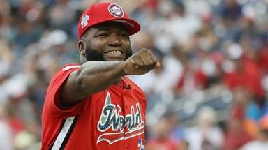 Manager David Ortiz of the World Team celebrates