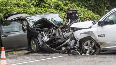 Police said a minivan and pickup truck collided