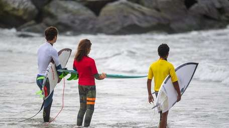 Surfers wait to compete in the Kids Surf
