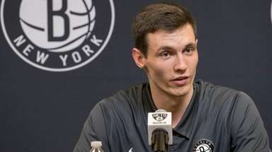 Nets draft pick Rodions Kurucs speaks to reporters