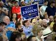 Supporters cheer at a rally for Gary Johnson,