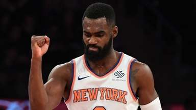 Knicks forward Tim Hardaway Jr. reacts against the
