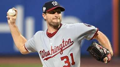 Nationals starting pitcher Max Scherzer delivers a pitch