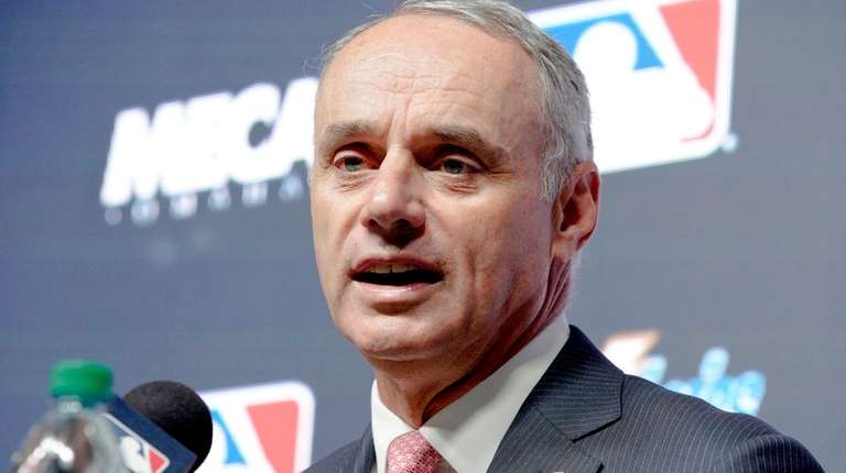 Major League Baseball commissioner Rob Manfred speaks during