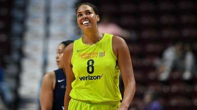 The Wings' Liz Cambage during a preseason WNBA