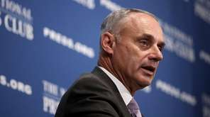 MLB commissioner Rob Manfred speaks at the National