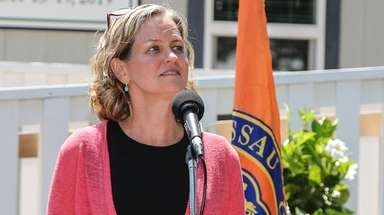 Nassau County Executive Laura Curran speaks in Bethpage