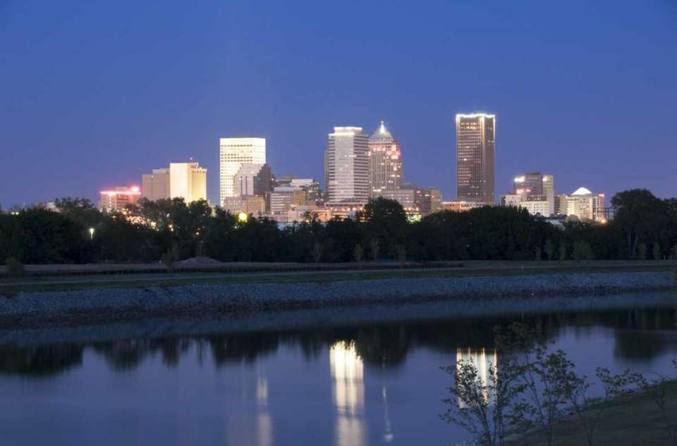 The Oklahoma City skyline at dusk from across