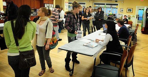 Teens at Hampton Bays jobs fair.