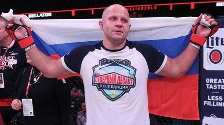 Fedor Emelianenko, in the black shorts, defeated Frank