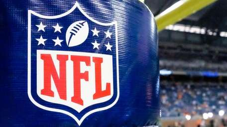 NFL logo on a goal-post pad before a