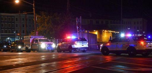 Police on the scene where a Long Island