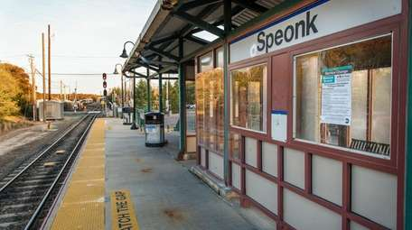 The Speonk LIRR station in a view looking