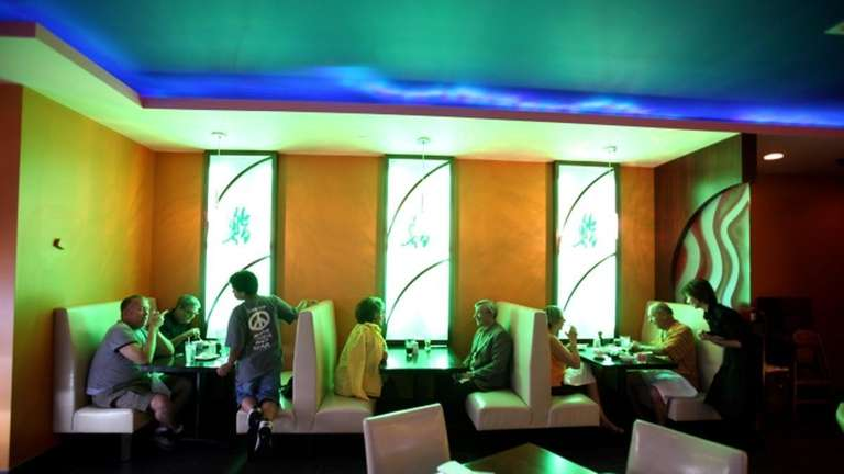 Domo Sushi is decorated in yellows, blues and